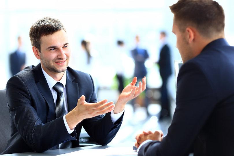 Business partners having a business conversation