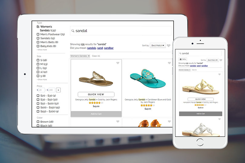 Magento search extension for mobile devices