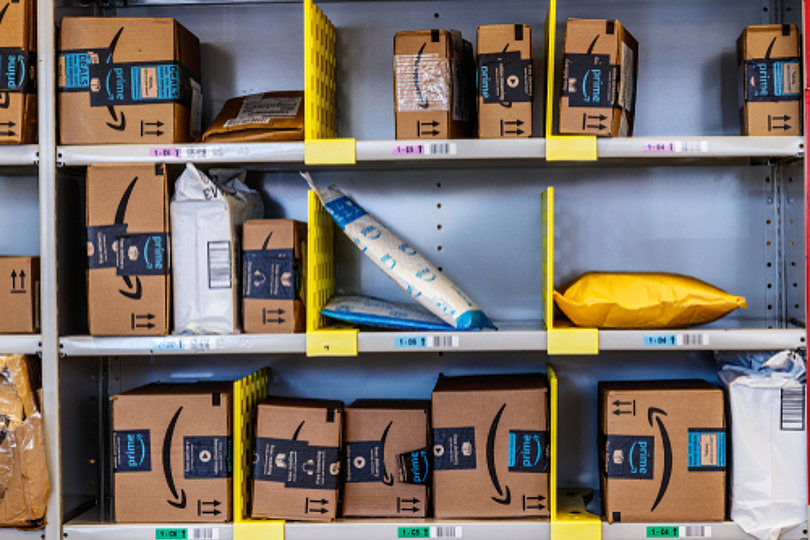 Amazon products organized in a warehouse