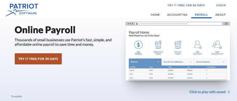 Patriot payroll software screenshot